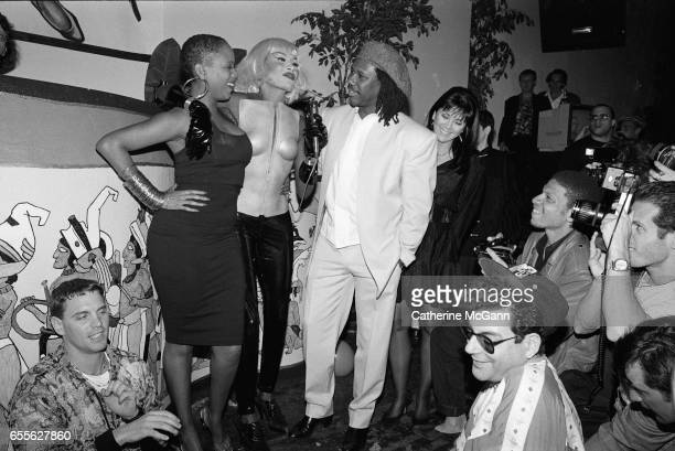 Grace Jones celebrates her birthday in May 1992 at the Palladium in New York City New York LR Toukie Smith Grace Jones Nile Rodgers Michael Musto in...