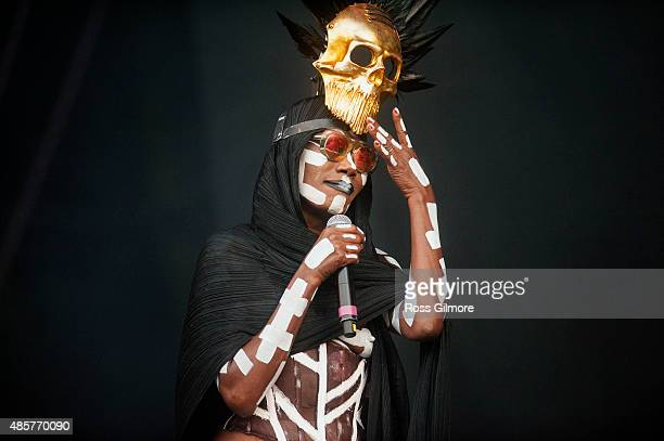 Grace Jones performs at Glasgow Summer Sessions at Bellahouston Park on August 29 2015 in Glasgow Scotland