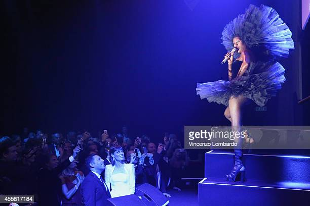 Grace Jones performs at the amfAR Milano 2014 Gala Dinner and Auction as part of Milan Fashion Week Womenswear Spring/Summer 2015 on September 20...