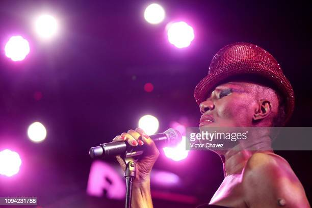 Grace Jones performs during the amfAR gala dinner at the house of collector and museum patron Eugenio López on February 5 2019 in Mexico City Mexico