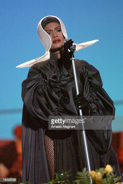 Grace Jones performs during the concert Pavarotti and Friends May 28 2002 in Modena Italy