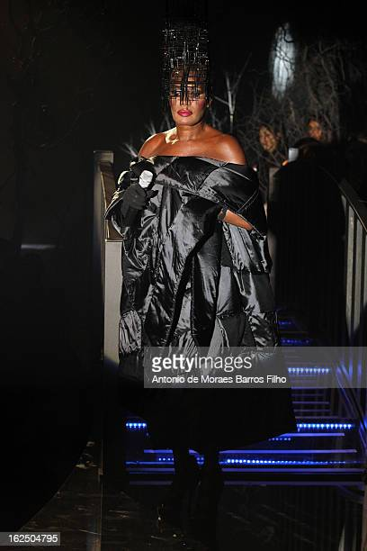 Grace Jones performs during the Philipp Plein show as a part of Milan Fashion Week Womenswear Fall/Winter 2013 on February 23, 2013 in Milan, Italy.