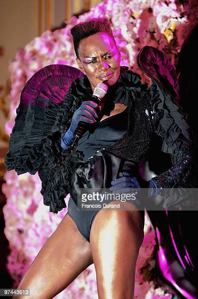 Grace Jones performs during the Victor Rolf 'Flower Bomb' 5th Anniversary during Paris Fashion Week at Hotel Meurice on March 4 2010 in Paris France
