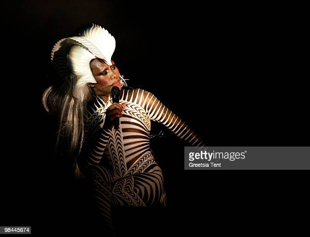 Grace Jones performs live at Vredenburg on April 13 2010 in Utrecht Netherlands