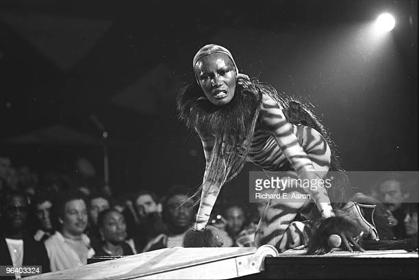 Grace Jones performs live on stage dressed in a Cat Suit at The Roseland Ballroom in 1978