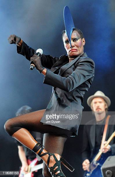 Grace Jones performs live on stage during the third day of the Wireless Festival at Hyde Park on July 3 2011 in London England