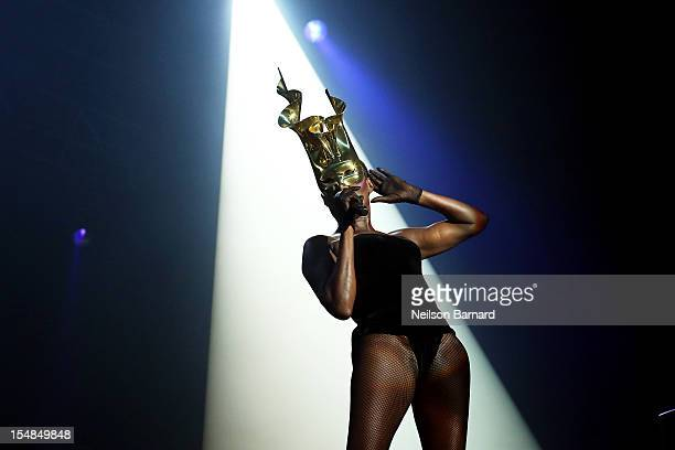 Grace Jones performs on stage as part of her Hurricane tour at Roseland Ballroom on October 27 2012 in New York City