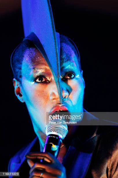 Grace Jones performs on stage at Kyocera Stadium on June 15 2011 in The Hague Netherlands