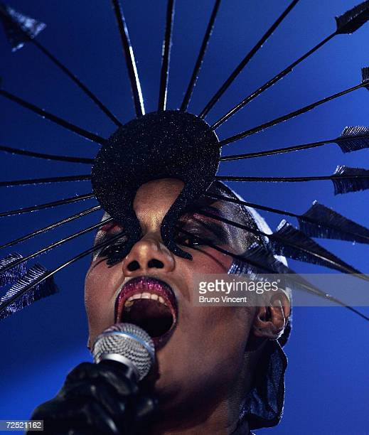 Grace Jones performs on stage at Produced By Trevor Horn A Concert For The Prince's Trust at Wembley Arena on November 11 2004 in London The concert...