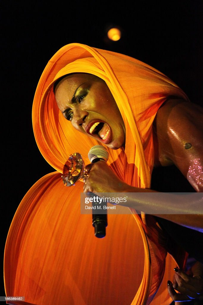 Grace Jones performs on stage at the launch of the Vogue Pop Up Club as part of Westfield London's 5th birthday celebrations at Westfield on October 30, 2013 in London, England.