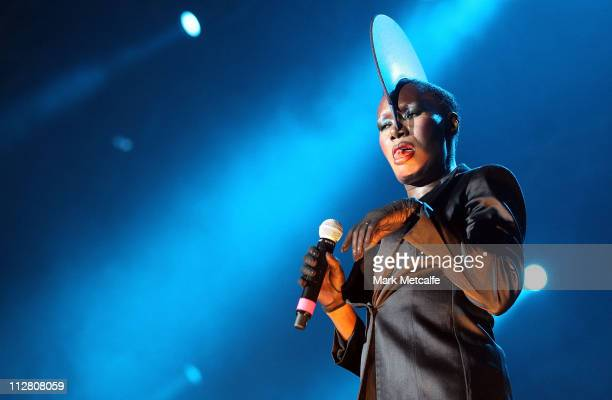 Grace Jones performs on stage during day two of the Bluesfest Music Festival at Tyagarah Tea Tree Farm on April 22 2011 in Byron Bay Australia