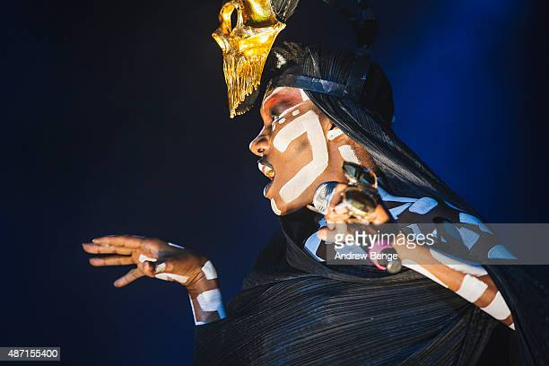 Grace Jones performs on the main stage during day 4 of Festival No 6 on September 6 2015 in Portmeirion Wales