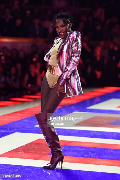 Grace Jones performs on the runway during the Tommy Hilfiger TOMMYNOW Spring 2019 : TommyXZendaya Premieres at Theatre des Champs-Elysees on March...