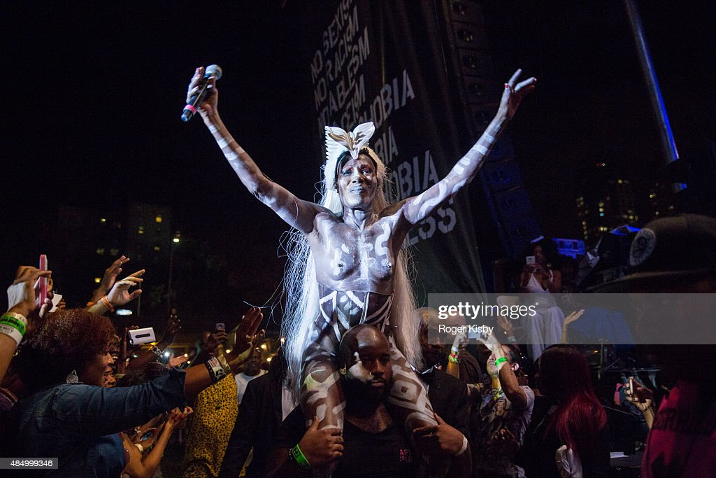 Grace Jones performs onstage at Afropunk Fest at Commodore Barry Park on August 22, 2015 in Brooklyn, New York.