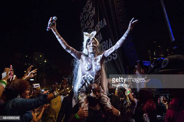 Grace Jones performs onstage at Afropunk Fest at Commodore Barry Park on August 22 2015 in Brooklyn New York
