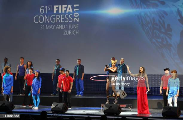 Grace Jones performs with dancers during the 61st FIFA Congress Opening Ceremony at Hallenstadion on May 31 2011 in Zurich Switzerland