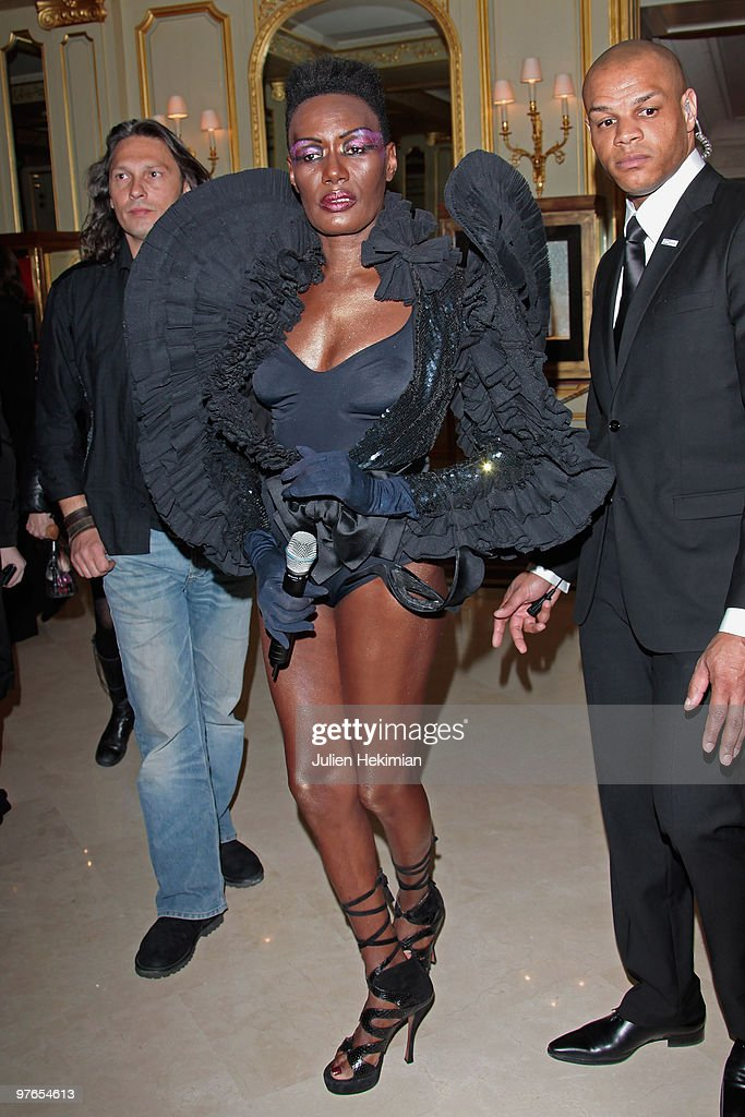 Grace Jones poses during the Flower Bomb 5th anniversary at Hotel Meurice on March 4, 2010 in Paris, France.