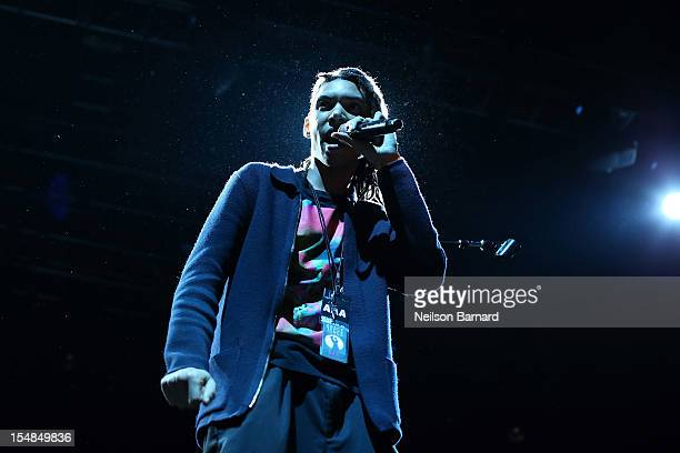 Grace Jones' son Paulo Goude performs on stage as part of her Hurricane tour at Roseland Ballroom on October 27 2012 in New York City