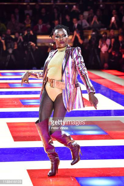 Grace Jones walks the runway during the Tommy Hilfiger TOMMYNOW Spring 2019 : TommyXZendaya Premieres at Theatre des Champs-Elysees on March 02, 2019...