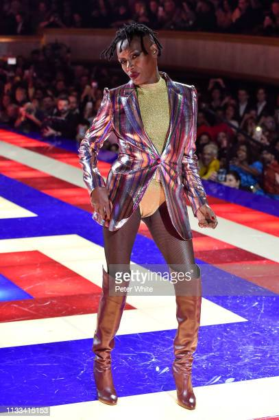 Grace Jones walks the runway during the Tommy Hilfiger TOMMYNOW Spring 2019 TommyXZendaya Premieres at Theatre des ChampsElysees on March 02 2019 in...