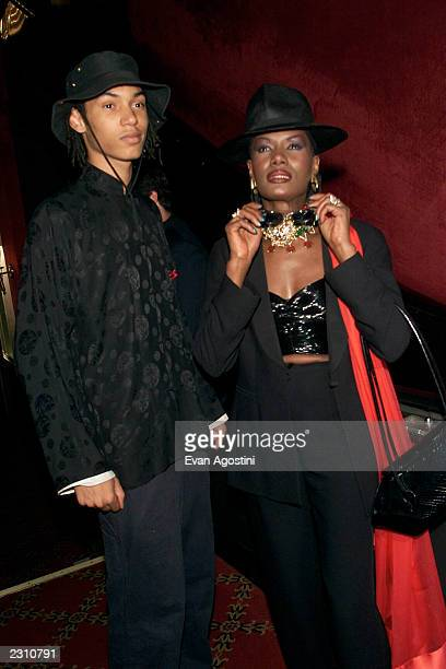 Grace Jones with her son Paolo Goude at the world premiere of the 20th Century Fox film 'Planet of the Apes' at the Ziegfeld Theater in New York City...