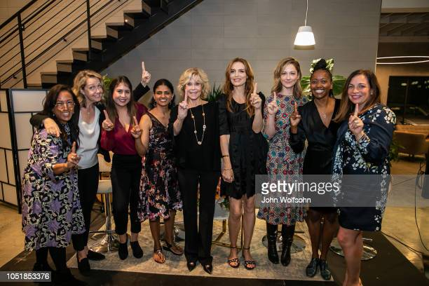 Grace Kahng Monica Horan Jael Madai Gonzalez Saru Jayamaran Jane Fonda Saffron Burrows Judy Greer Erica Alexander and Amy Nelson attend a benefit in...