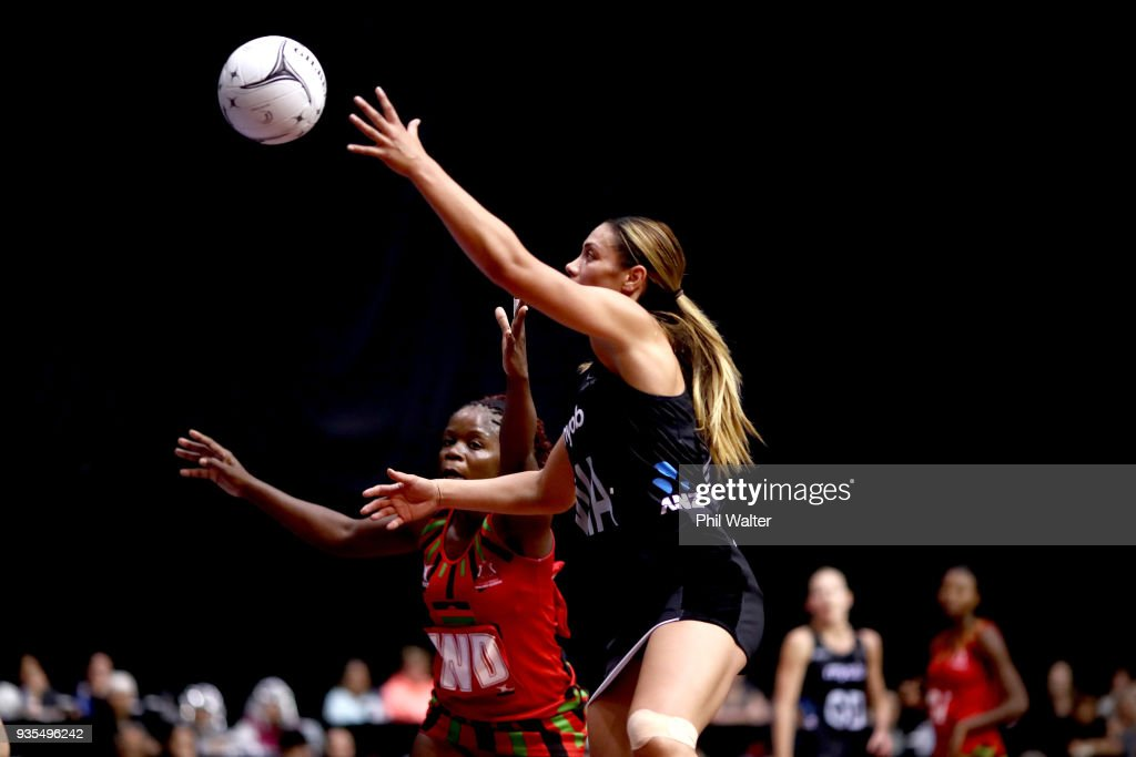 Grace Kara of the Silver Ferns takes a pass during the Taini Jamison Trophy match between the New Zealand Silver Ferns and the Malawai Queens at North Shore Events Centre on March 21, 2018 in Auckland, New Zealand.