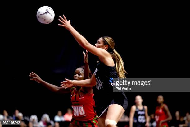 Grace Kara of the Silver Ferns takes a pass during the Taini Jamison Trophy match between the New Zealand Silver Ferns and the Malawai Queens at...