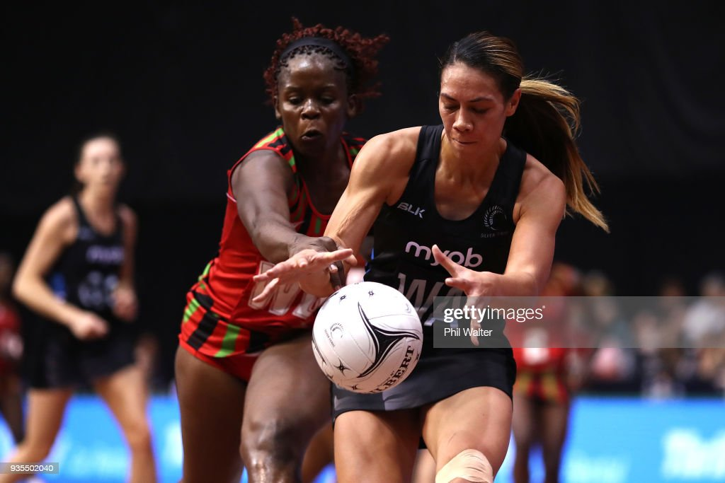 Grace Kara of the Silver Ferns takes a pass under pressure during the Taini Jamison Trophy match between the New Zealand Silver Ferns and the Malawai Queens at North Shore Events Centre on March 21, 2018 in Auckland, New Zealand.
