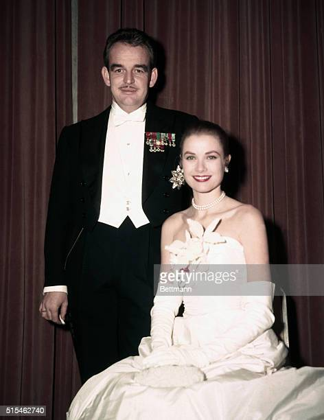 Grace Kelly, American actress who left Hollywood to marry Prince Rainier of Monaco. They are together here at the Monte Carlo Ball.