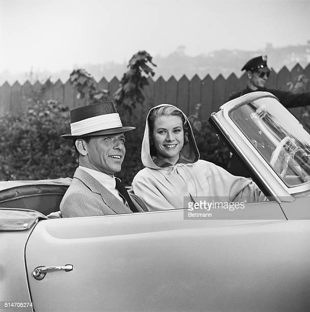 Grace Kelly and Frank Sinatra in an open convertible on the set of the Cole Porter musical High Society A duet with Bing Crosby earned Kelly her only...
