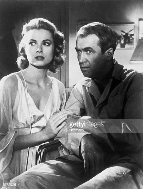 Grace Kelly and James Stewart in a scene from the movie Rear Window 1954
