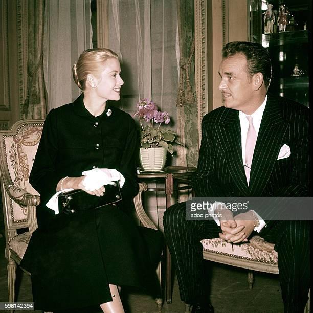 Grace Kelly and Rainier III Prince of Monaco In 1955