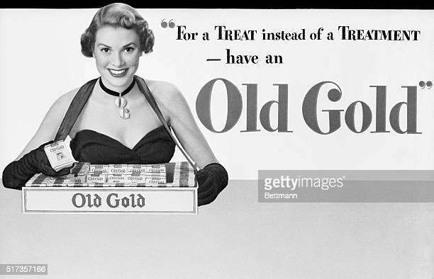 Grace Kelly as a model in the early days for Old Gold cigarettes.