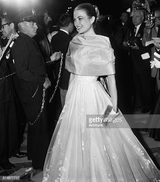Grace Kelly attends the 28th annual Academy Awards ceremony in her final appearance before leaving Hollywood to marry Prince Rainier of Monaco....