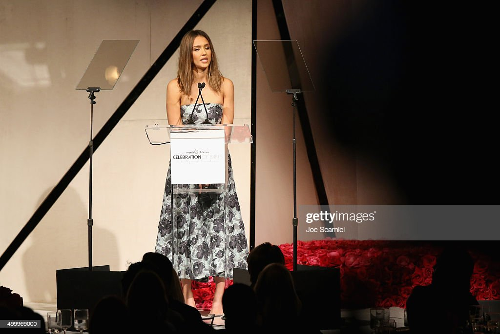 Grace Kelly Award recipient Jessica Alba speaks onstage at the March Of Dimes Celebration Of Babies Luncheon honoring Jessica Alba at the Beverly Wilshire Four Seasons Hotel on December 4, 2015 in Beverly Hills, California.