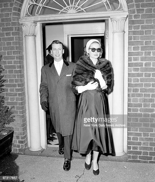 Grace Kelly clad in a mink stole and topped off with a pink straw turban leaves for Rita Gam wedding