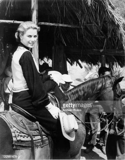 Grace Kelly on horseback in a scene from the film 'Green Fire' 1954