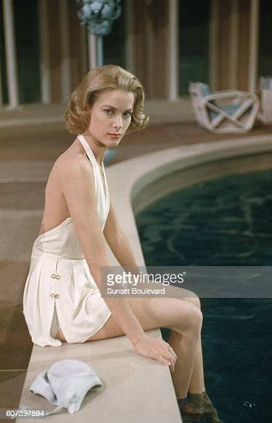 "Grace Kelly on the set of ""High Society""."