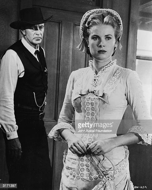 Grace Kelly turns her back on Gary Cooper in a scene from the classic western 'High Noon', directed by Fred Zinnemann.