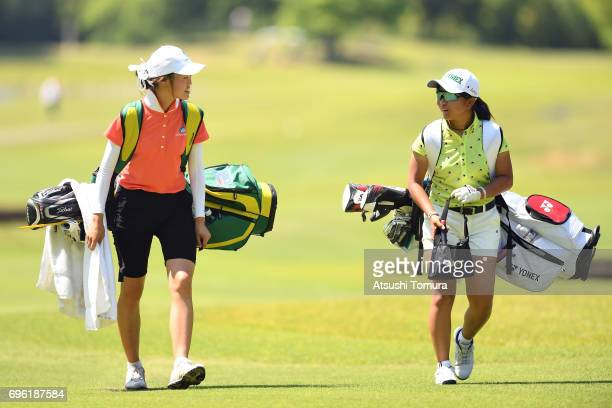 Grace Kim of Australia and Riri Sadoyama of Japan smile during the third round of the 2017 TOYOTA Junior Golf World Cup at the Chukyo Golf Club...