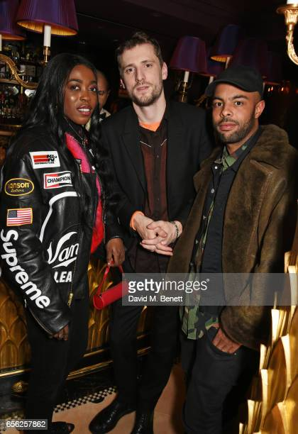 Grace Ladoja George Barnett and Alex Sossah attend the Another Man Spring/Summer Issue launch dinner in association with Kronaby at Park Chinois on...