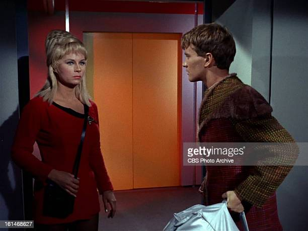 Grace Lee Whitney as Yeoman Janice Rand in and Robert Walker Jr as Charlie Evans and in the STAR TREK episode Charlie X Season 1 episode 2 Original...