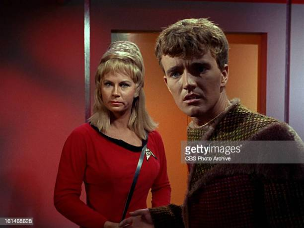 Grace Lee Whitney as Yeoman Janice Rand in and Robert Walker Jr as Charlie Evans in the STAR TREK episode Charlie X Season 1 episode 2 Original air...