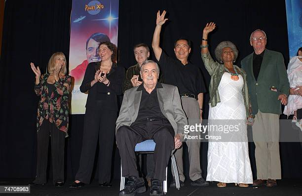 Grace Lee Whitney Majel Barrett Roddenberry Walter Koenig George Takei Nichelle Nichols and Neil Armstrong at the Renaissance Hollywood Hotel in...