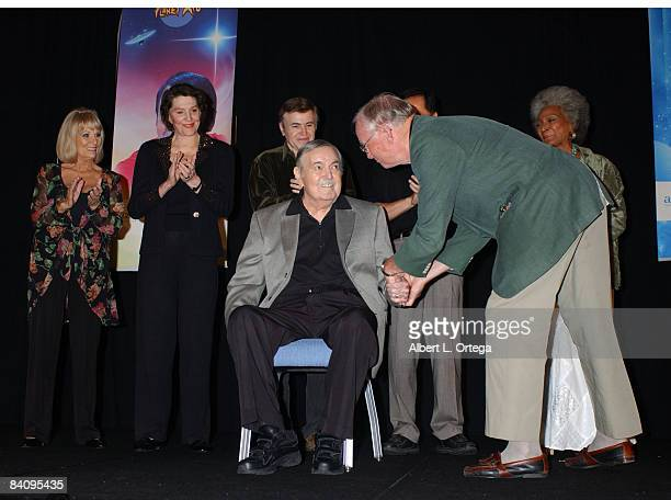 Grace Lee Whitney Majel Barrett Roddenberry Walter Koenig George Takei Nichelle Nichols and Neil Armstrong