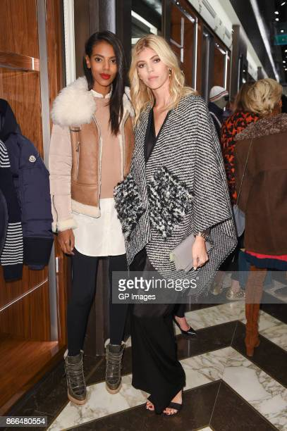 Grace Mahary and Devon Windsor attend the Moncler cocktail in celebration of the boutique grand opening on October 25 2017 in Toronto Canada
