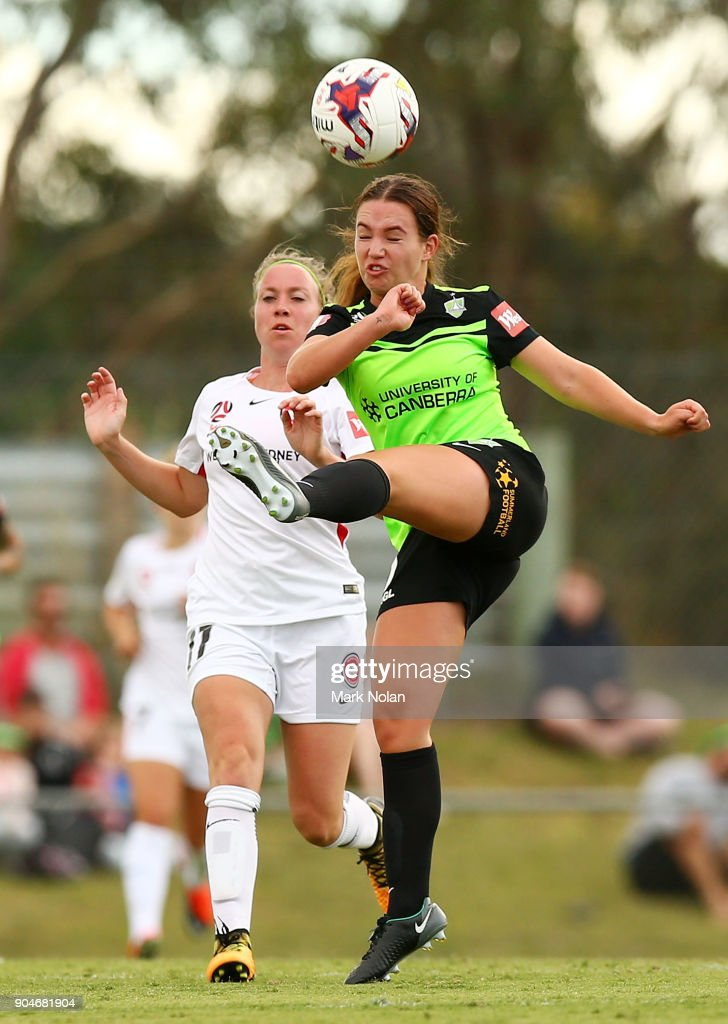 Grace Maher of Canberra in action during the round 11 W-League match between Canberra United and the Western Sydney Wanderers at McKellar Park on January 14, 2018 in Canberra, Australia.