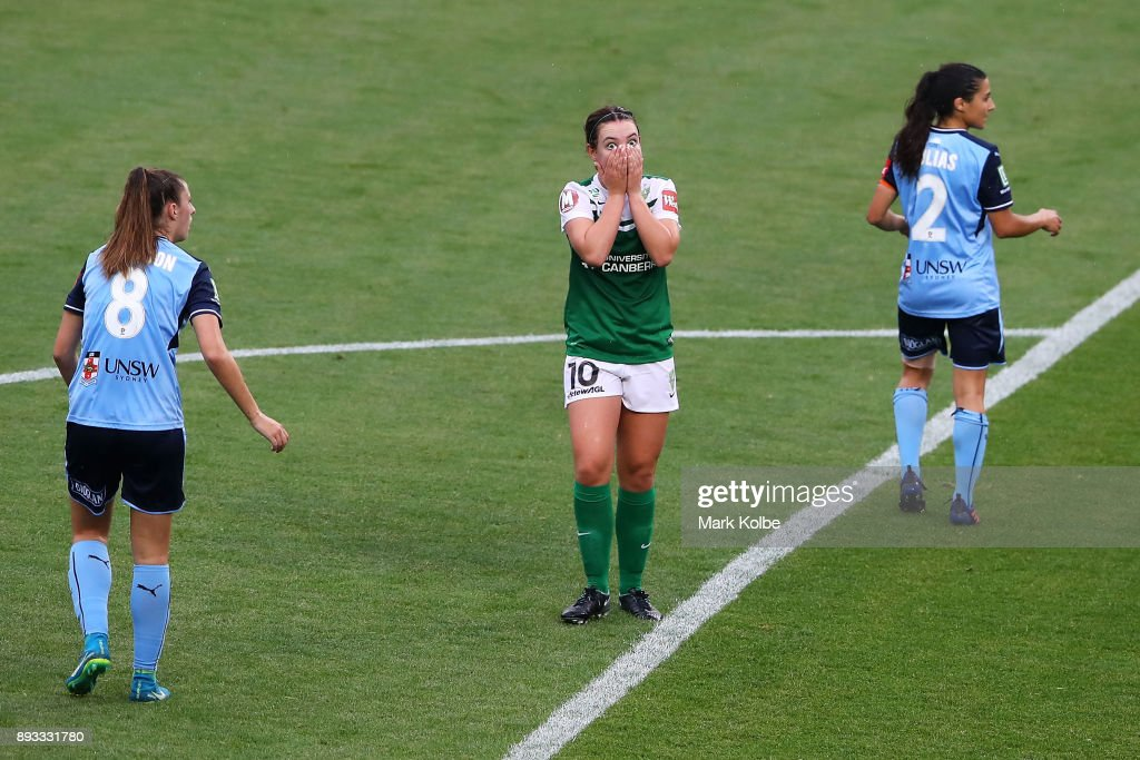 Grace Maher of Canberra United reacts after a missed shot on goal during the round eight W-League match between Sydney FC and Canberra United at Allianz Stadium on December 15, 2017 in Sydney, Australia.