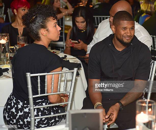 Grace Miguel and Usher attend the 10 Year Anniversary Celebration Dinner With Jeezy And The Street Dreams Foundation at 103 West on July 24, 2015 in...